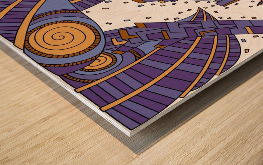 Wandering Abstract Line Art 10: Purple Wood print