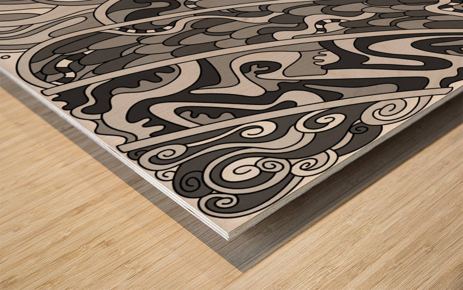 Wandering Abstract Line Art 11: Grayscale Wood print