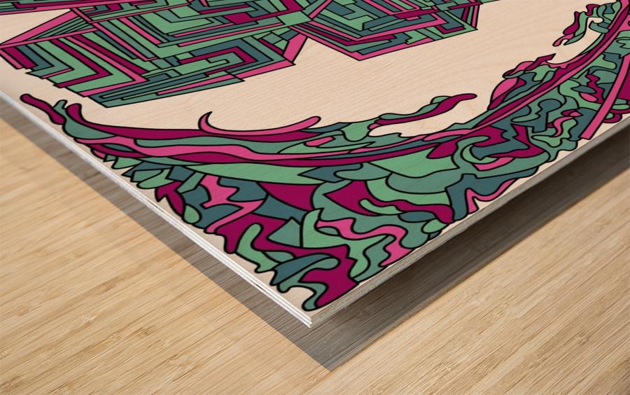 Wandering Abstract Line Art 12: Magenta Wood print