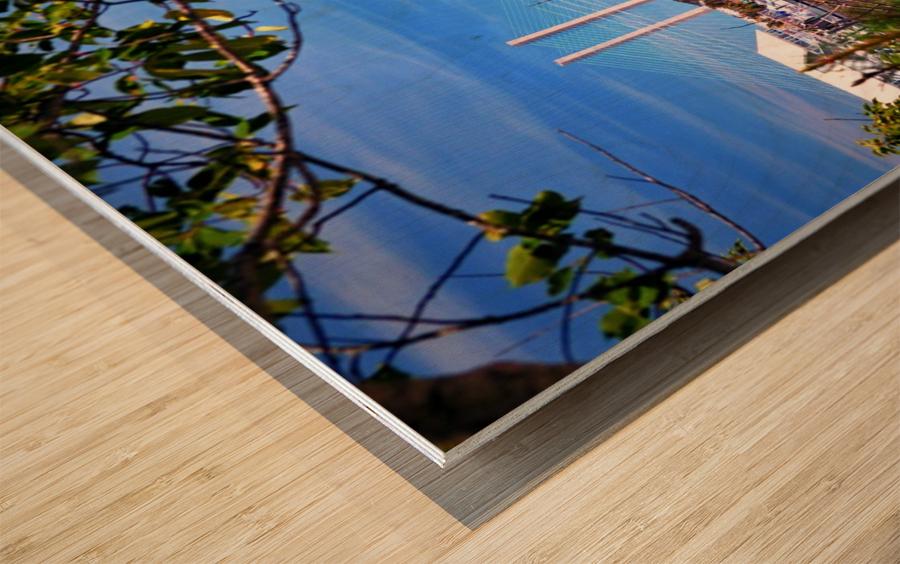 Burtons Boats and A Bridge Wood print