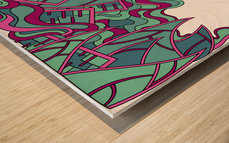 Wandering Abstract Line Art 25: Magenta Wood print