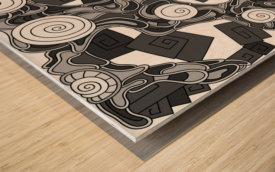 Wandering Abstract Line Art 29: Grayscale Wood print