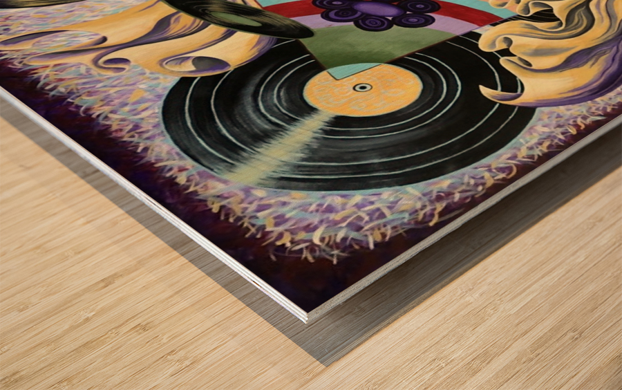 La persistance du disque - A passion for music Wood print