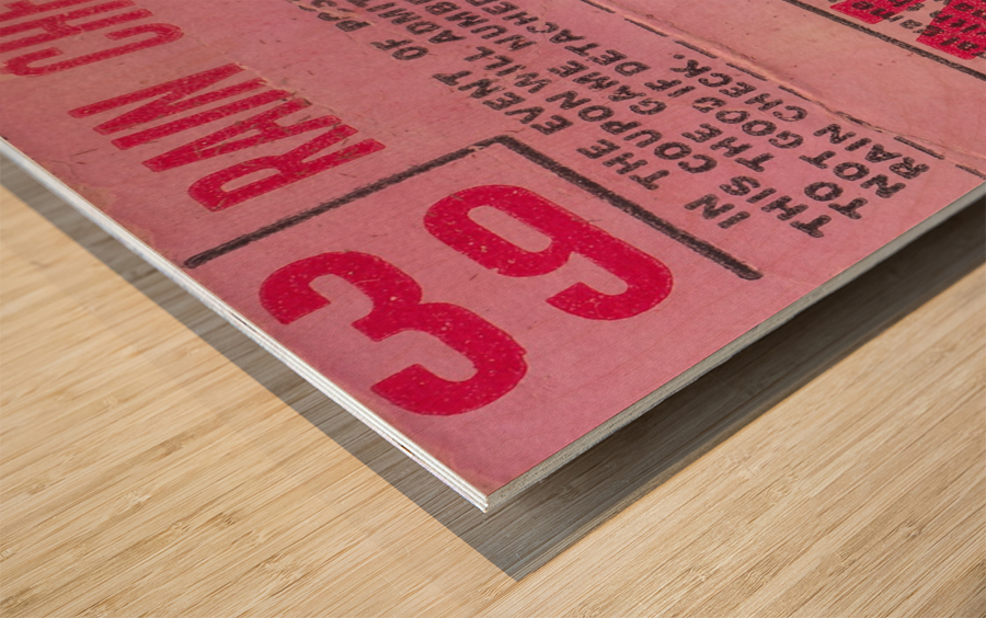 1970_Major League Baseball_Boston Red Sox Ticket Stub Art_Fenway Park Artwork_Red Sox vs. Orioles Impression sur bois