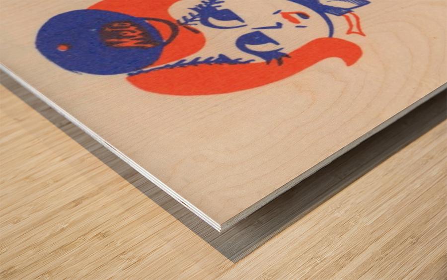 1977 new york mets art reproduction shea stadium retro baseball artwork row one brand Wood print