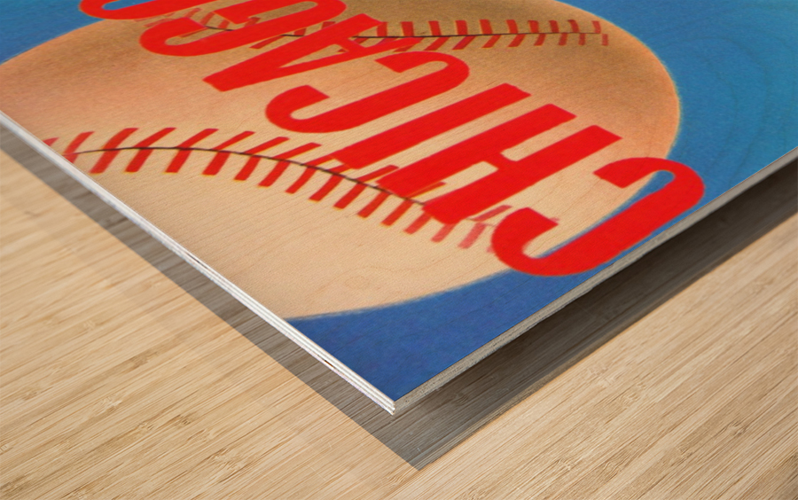 Sports Art Remixes_Public Domain Sports Art Creations_Chicago Cubs Poster (1950) Wood print