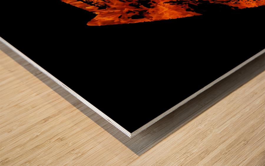 Burning on Fire Letter E Wood print