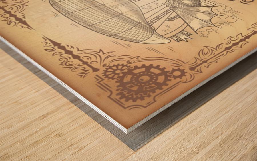 Vector steampunk poster illustration fantastic wooden flying ship Wood print