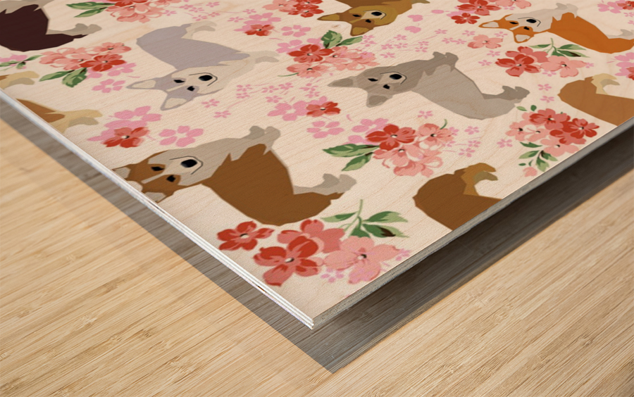 Corgis corgi pattern Wood print