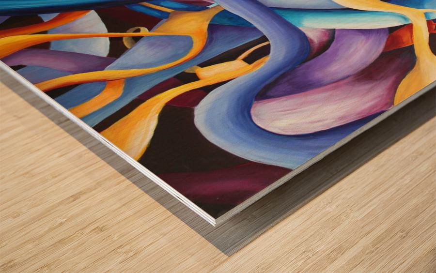 Interlacing Vivid Contemporary Abstract Wood print