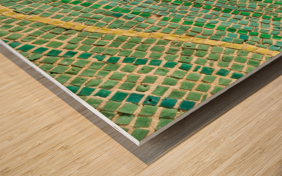Tessellated Abstracts and Impressions - Free Form Fields and Hills in Chartreuse Mint Green and Citron Yellow Wood print