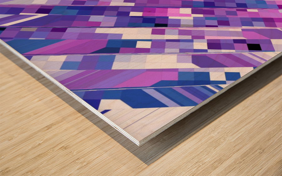 geometric square pixel pattern abstract background in purple pink Wood print