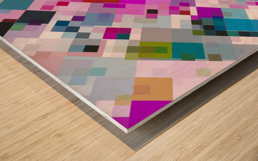 geometric square pixel pattern abstract background in pink blue yellow Wood print