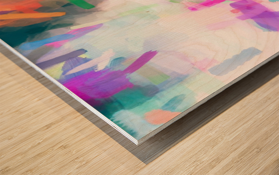 splash painting texture abstract background in pink blue green Wood print