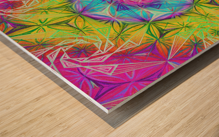 Spirals Kaleidoscope Ciclamen Lame Wood print