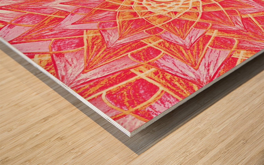 Red Flower Mandala Handdrawing  Wood print
