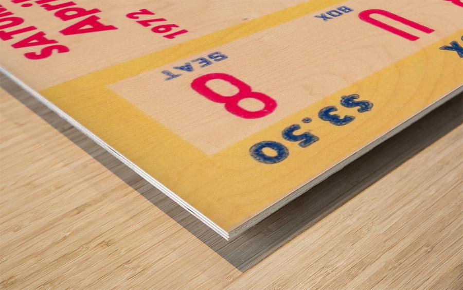 1972 la dodgers field level box baseball ticket stub canvas art Wood print