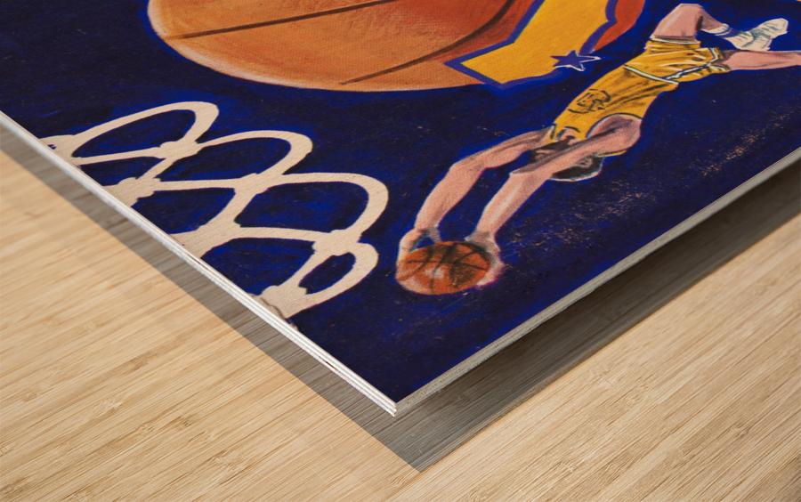 1974 golden state warriors basketball art murray olderman artist Wood print