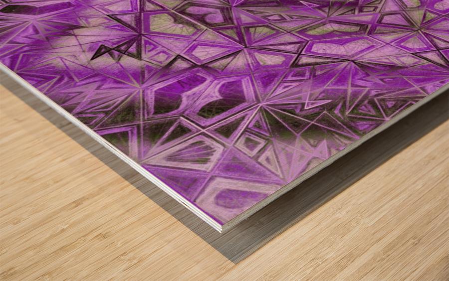 Purple Fractal Kaleidoscope Handdrawing Wood print