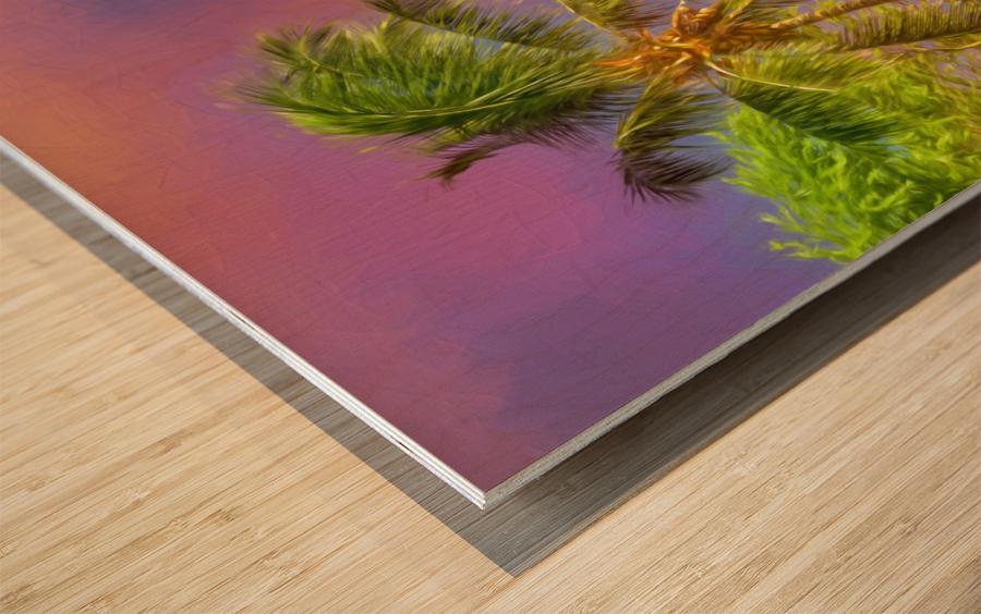 Palms Against The Sky Wood print