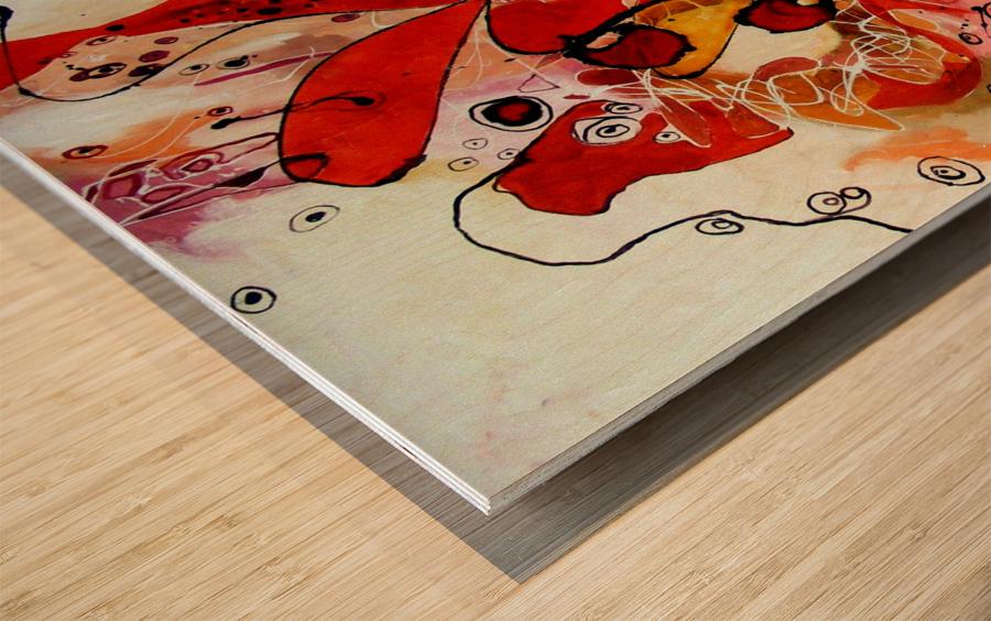 Magic red Wood print