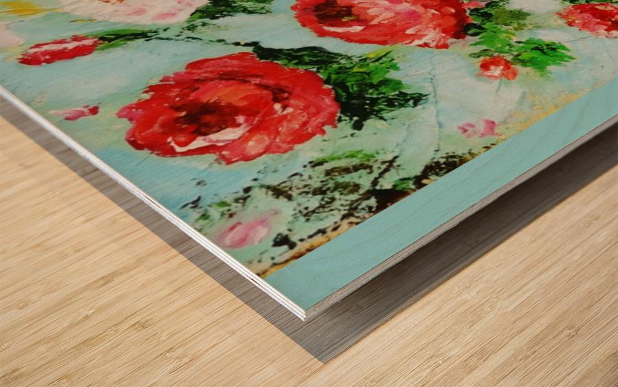 Roses on Aqua Wood print