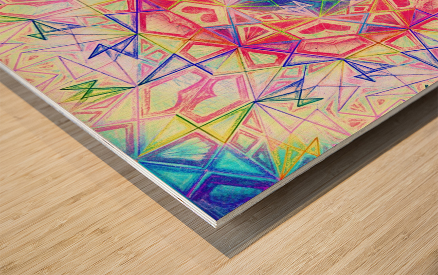 Psychedelic Art Hexagon Mandala Handdrawing Wood print