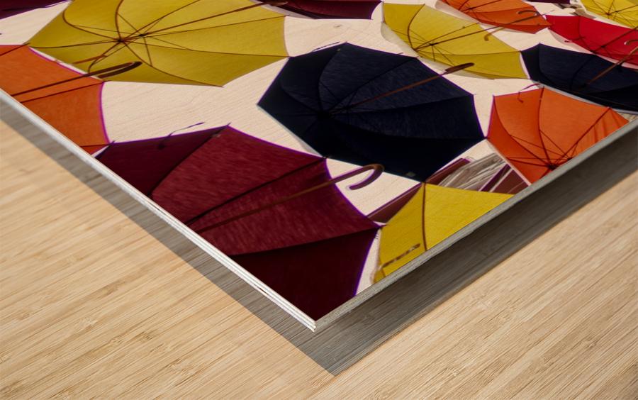 parapluies Wood print