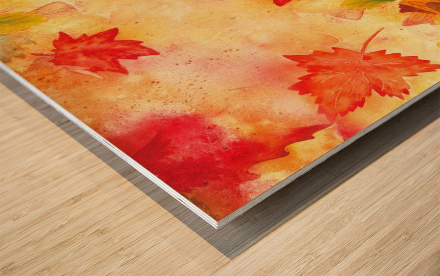 Welcome Fall Red Green Yellow Birch Oak Maple Watercolor Leaves Wood print