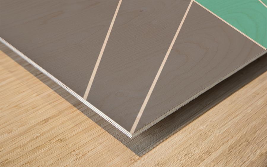 Gray Teal Triangles Geometric Art GAT101-3 Wood print