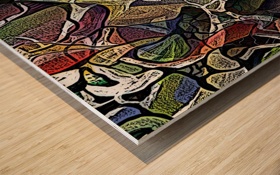 Linear Geometric Abstract  Wood print
