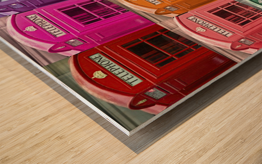 Multicoloured telephone boxes Wood print