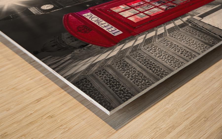 Telephone box with Big Ben, London, Uk Wood print