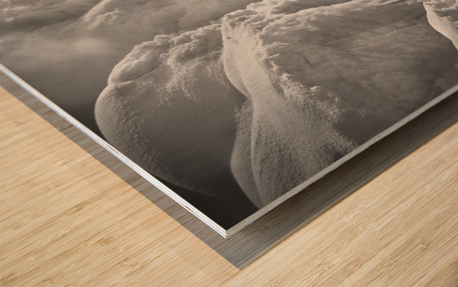 Winter River Smoke Wood print
