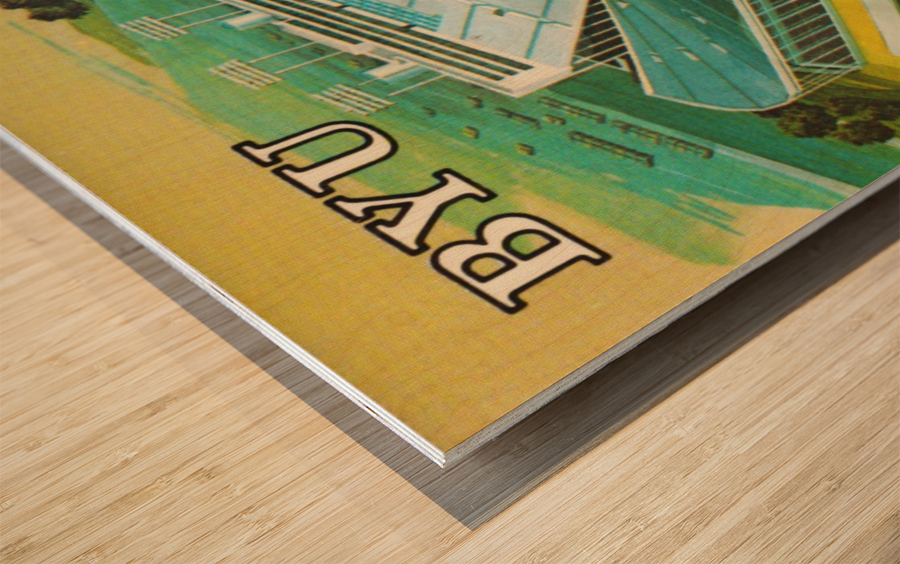 1982 BYU Cougar Stadium Art Wood print