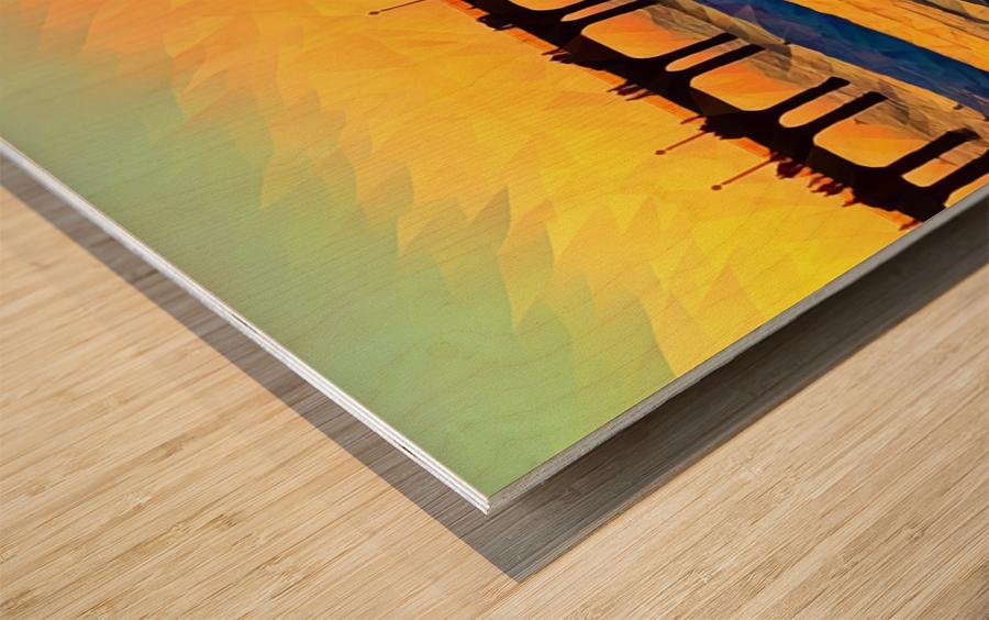 manhattan beach sunset art Wood print