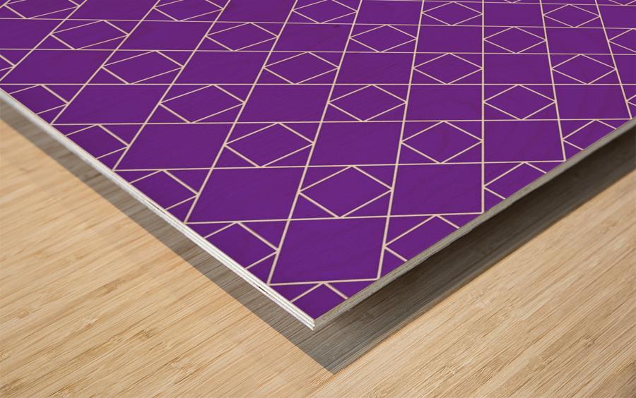 Purple Squares And Diamonds Pattern Wood print