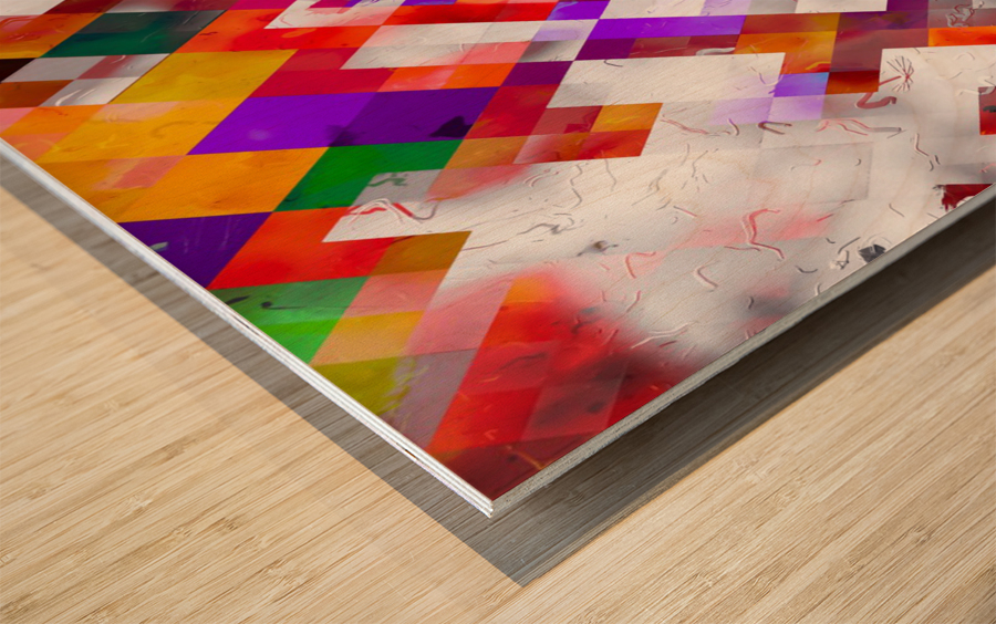 colorful geometric square pixel pattern abstract art in orange red purple Wood print