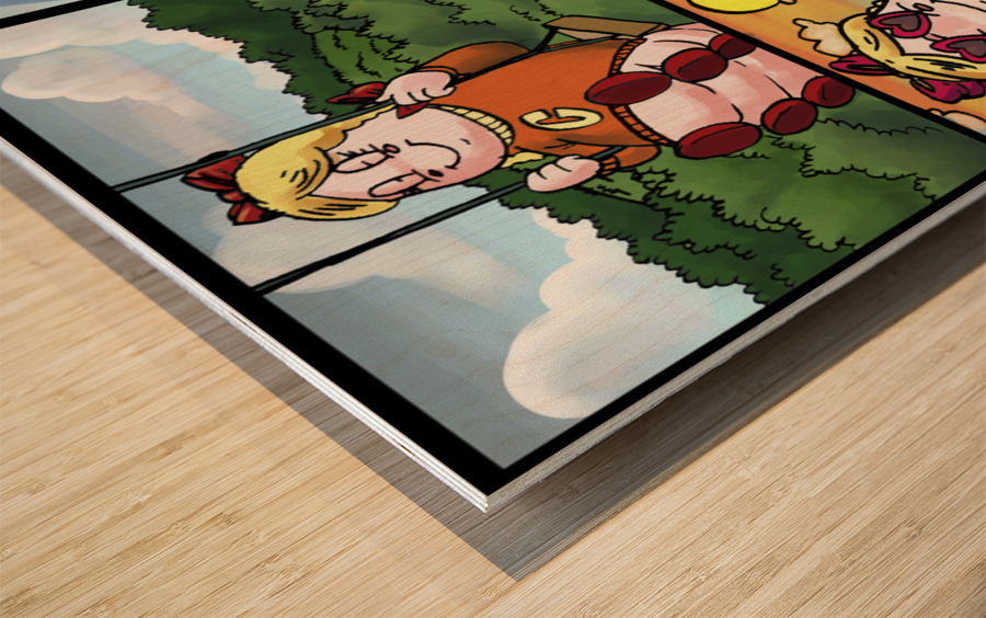 Cat the Caterpillar in Action   4 panel Favorites for Kids Room and Nursery   Bugville Critters Wood print