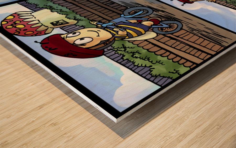 Buster the Bee in Action   4 panel Favorites for Kids Room and Nursery   Bugville Critters Wood print
