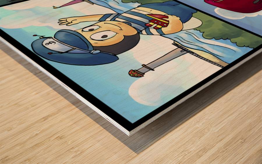 Buster the Bee on the Go   4 panel Favorites for Kids Room and Nursery   Bugville Critters Wood print