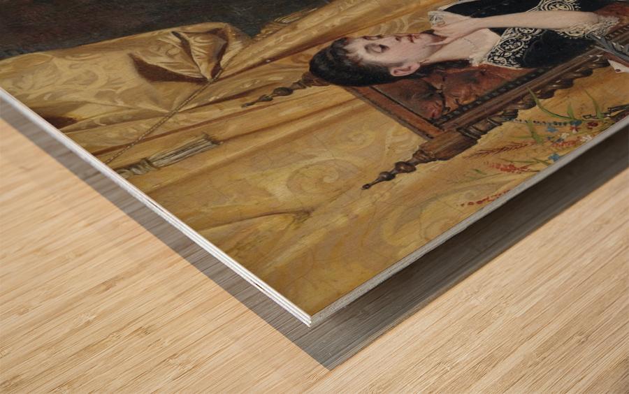 Junge Dame mit Brief Wood print