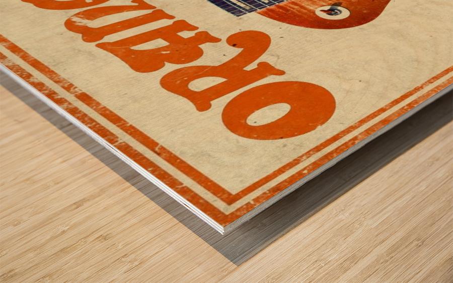 Orange vintage advertising poster Wood print