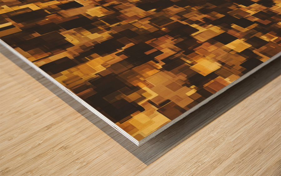 geometric square pattern abstract in brown and black Wood print