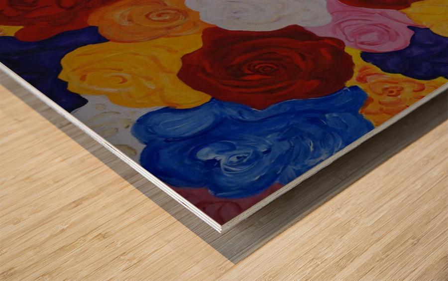 Colorful roses Wood print