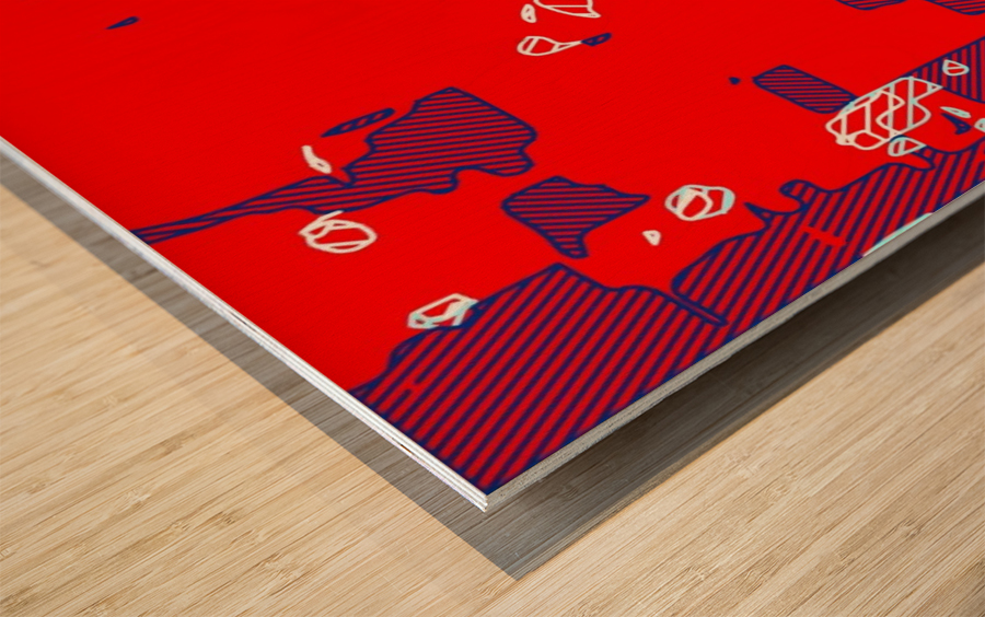 graffiti drawing and painting abstract in red and blue Wood print