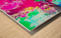 Golden Gate bridge, San Francisco, USA with pink blue green purple painting abstract background Wood print