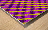 line pattern painting abstract background in purple and yellow Wood print
