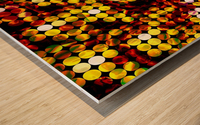 circle pattern abstract background with splash painting abstract in yellow red brown Wood print
