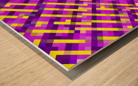geometric pixel square pattern abstract background in pink purple yellow Wood print